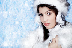 Winter  woman in warm clothing closeup portrait Stock Photo