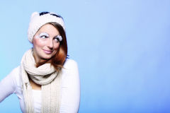 Winter woman warm clothing creative makeup Stock Image