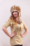 Winter woman in warm clothing fur cap Royalty Free Stock Photo
