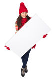 Winter woman with white banner Stock Image