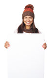 Winter woman with white banner Stock Images