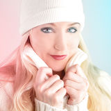 Winter Woman with White Sweater and Hat Royalty Free Stock Image