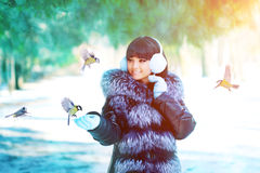 Winter woman on winter background. Woman Young girl feeding bird Stock Photo