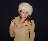 Winter Woman With Coat And Ushanka Stock Photo