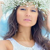 Winter woman with wreath on head Royalty Free Stock Photo
