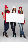 Winter women billboard sign. Royalty Free Stock Photos