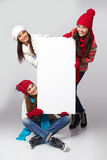 Winter women billboard sign. Stock Image
