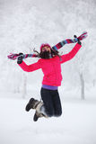 Winter women jump royalty free stock images