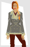 Winter women's clothes. Fashion winter women's clothes. Series of sketches Stock Image