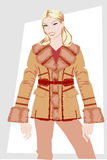 Winter women's clothes. Fashion winter women's clothes. Series of sketches Stock Photography