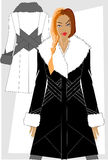 Winter women's clothes. Fashion winter women's clothes. Series of sketches Stock Images