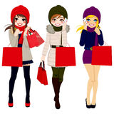 Winter Women Shopping Stock Images