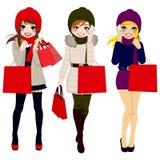 Winter Women Shopping vector illustration