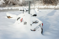 Winter wonder land - snow bicycle Royalty Free Stock Photography