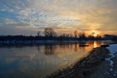 Winter wonder. Winter on river Danube in Novi Sad Stock Image