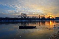 Winter wonder. Winter on river Danube in Novi Sad Stock Images