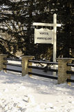 Winter Wonderland. A fence and a sign saying Winter Wonderland.  Not an actual place - no infringements Stock Images