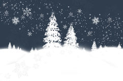 Winter wonderland. Abstract winter background with snowflakes and fir trees Stock Photos