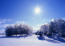 Winter Wonderland. A beautiful sunny day after the snow storm in Wisconsin stock images