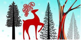 Winter Wonderland. Stylized winter wonderland scene including trees snowflakes and reindeer Stock Image