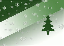 Winter Wonderland. Green abstract background with a pine tree and snowflakes Royalty Free Stock Photo