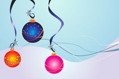 Winter Wonderland. Illustration of brightly decorated  Christmas Baubles Royalty Free Stock Photo