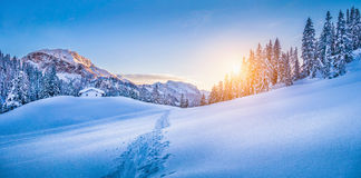 Winter wonderland in the Alps with mountain chalet at sunset. Panoramic view of beautiful winter wonderland mountain scenery with traditional mountain cabin the Stock Image