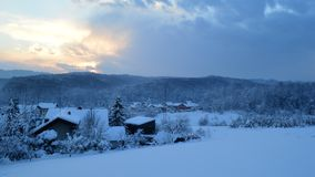 Winter wonderland. As captured right before the sun sets royalty free stock photography