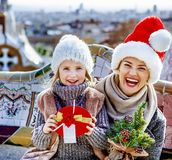 Happy mother and child tourists at Guell Park at Christmas Royalty Free Stock Photo
