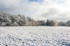 Winter Wonderland. Blue sky with white clouds and Snow Stock Image