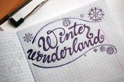 Winter Wonderland calligraphic background Royalty Free Stock Image