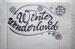 Winter Wonderland calligraphic background Royalty Free Stock Photo
