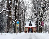 Winter Wonderland Covers Biltmore Gatehouse. A winter wonderland a waits you as you drive through the Biltmores gatehouse royalty free stock photography