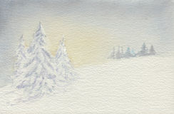 Winter wonderland at dawn. Watercolor illustration showing winter scene at dawn Royalty Free Stock Photography