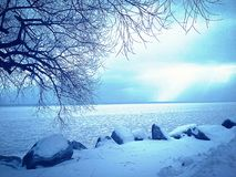 Winter Wonderland. Edits done to this image were to brighten it up. A cold, winter day view of Lake Michigan stock image