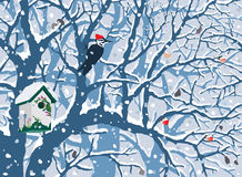 Winter Wonderland - First Snow. Hand drawn vector illustration of first snow covering trees, cute painted birdhouse, woodpecker, apples Stock Photo