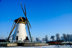 Winter wonderland in Holland. Skating along the frozen rivers stock image