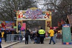 Winter Wonderland in Hyde Park, London. LONDON, UK - DECEMBER 13: The main entrance of Winter Wonderland in Hyde Park, December 13, 2012 in London. Winter Royalty Free Stock Photo