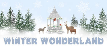 Winter Wonderland Illustration - gazebo/deer. Oblong image with graphic deer curious over gazebo in winter forrest with snow Stock Photo