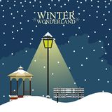 Winter wonderland landscape. Christmas season. Vector illustration design royalty free illustration