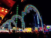 Winter Wonderland lights. Colourful, Bright and vibrant lights, arches through winter Wonderland london stock photo