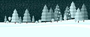 Winter wonderland night background. Winter wonderland night background with christmas tree. Forest Stock Images