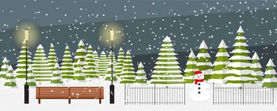 Winter wonderland park background. Cute vector evening winter background. Snowfall, bench, fir trees in different shapes and forms, lanterns, snowman. Outside Stock Photo
