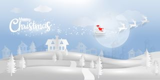 Winter wonderland with Santa Caluse and reindeer paper cut style royalty free illustration