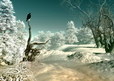 Winter Wonderland SCene, 3d CG. 3d computer graphics of a winter landscape with bird of prey Stock Image