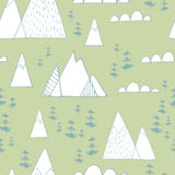 Winter Wonderland. Seamless  patterns in scandinavian style. Cute hand drawn trees, pine cones, branches and toys Royalty Free Stock Images