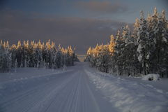 Winter wonderland at sundown, Sweden Stock Photo