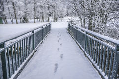 Winter wood landscape. Walk bridge cover snow with white forest Stock Photo