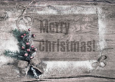 Winter wooden background and caption Stock Photography