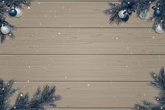 Winter wooden background. Christmas border Stock Photos